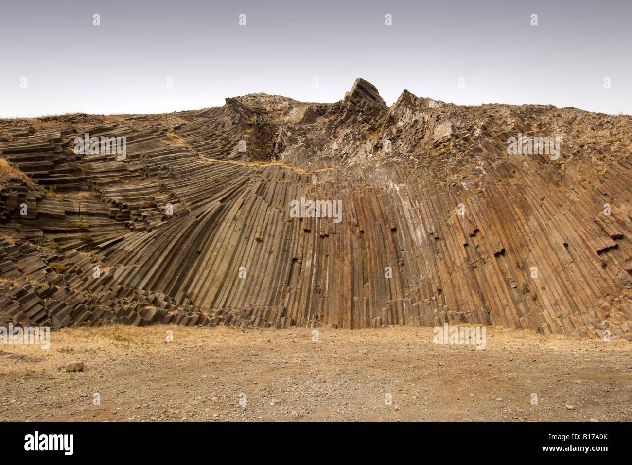 Pentagonal rock extrusions on Pico de Ana Ferreira on the Portuguese Atlantic island of Porto Santo. - Stock Image