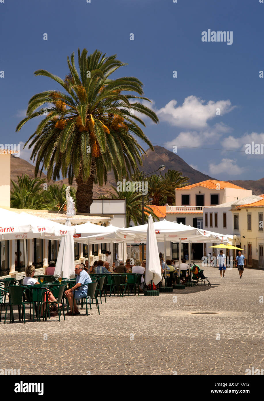 The town of Vila Baleira on the Portuguese Atlantic island of Porto Santo. - Stock Image