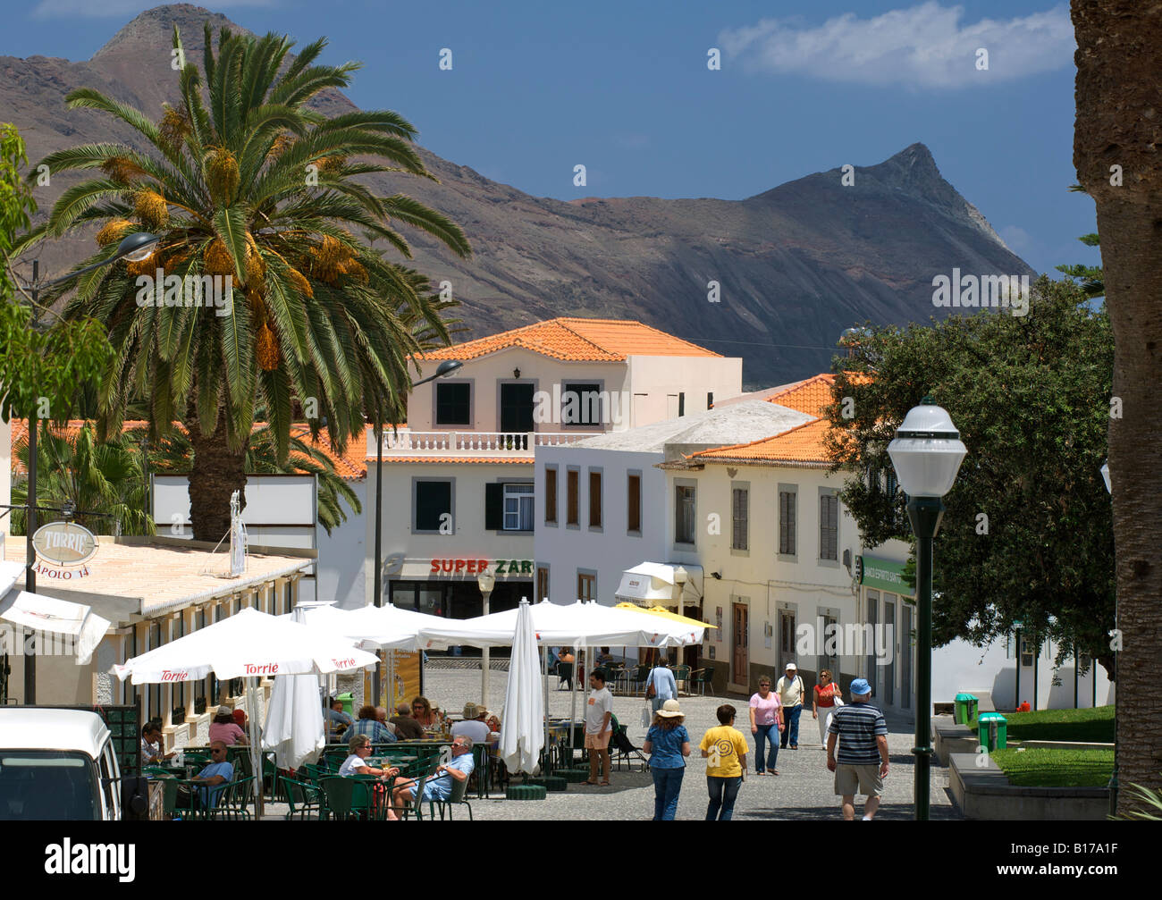 The town of Vila Baleira on the Portuguese Atlantic island of Porto Santo. Stock Photo