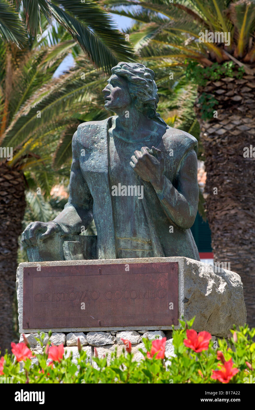 Commemorative bust of Christopher Columbus on the Portuguese Atlantic island of Porto Santo. Stock Photo
