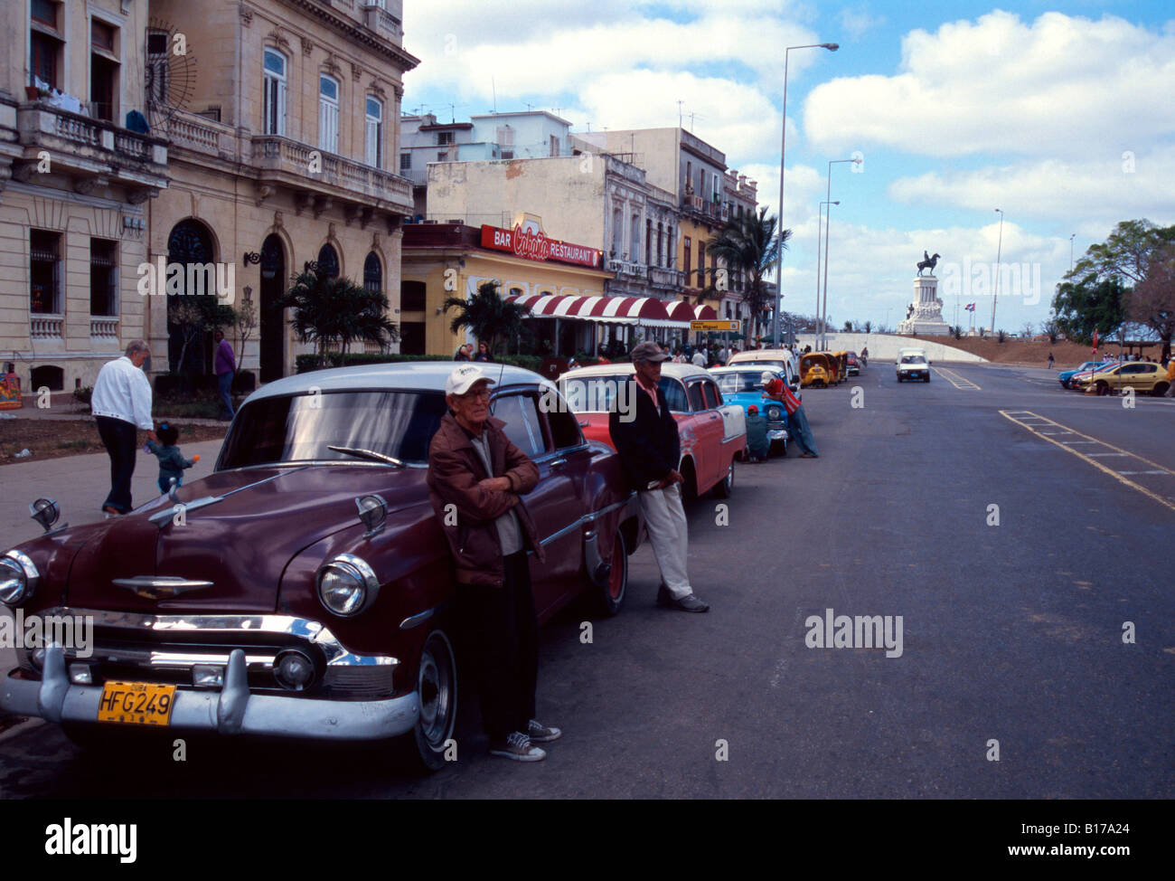 Old cars used to transport turists in Havana Cuba Stock Photo ...