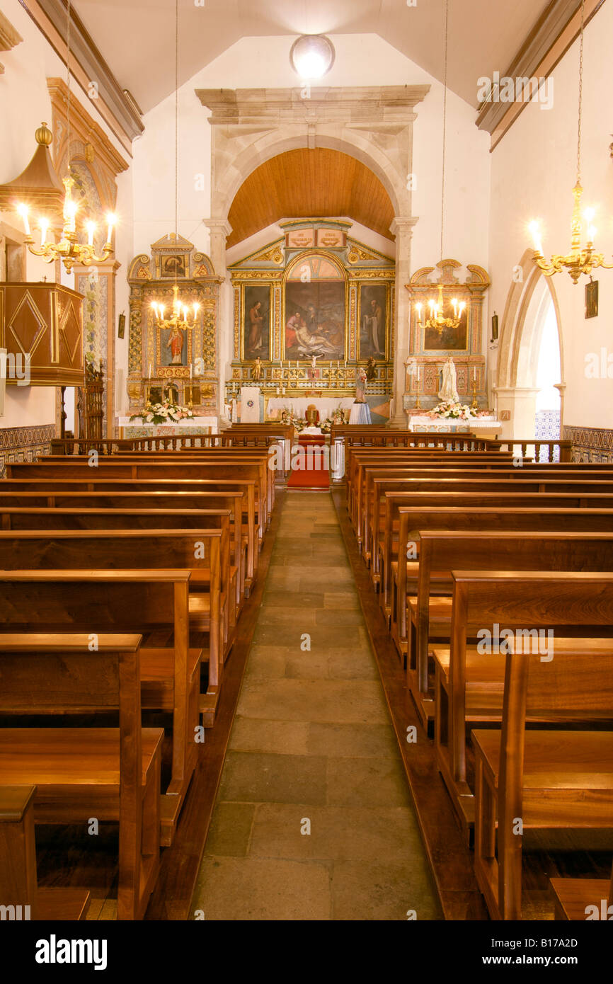 Interior of the church in Vila Baleira on the Portuguese Atlantic island of Porto Santo. - Stock Image
