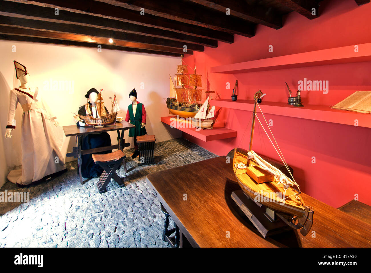 The interior of the Christopher Columbus museum on the Portuguese Atlantic island of Porto Santo. - Stock Image