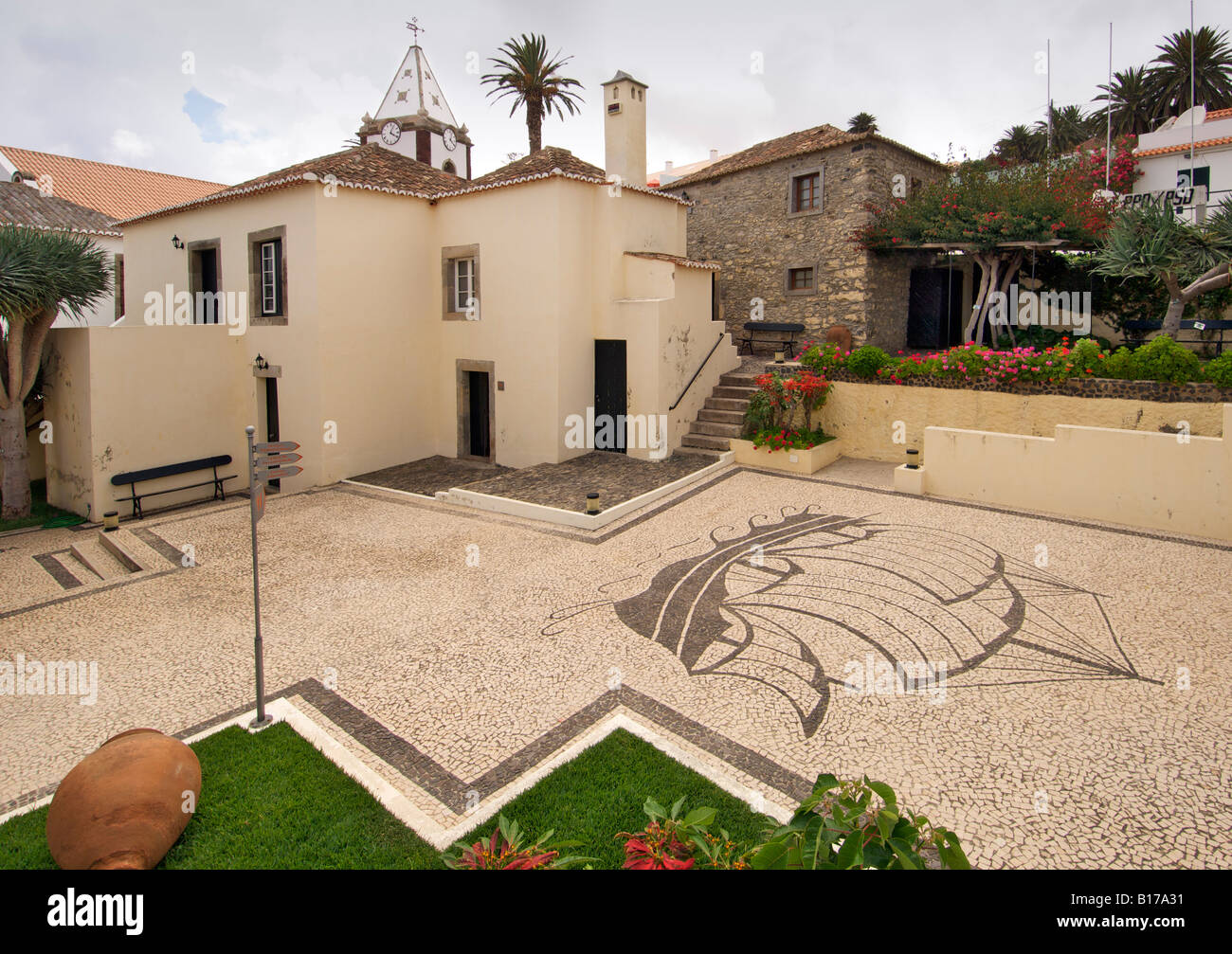 The exterior of the Christopher Columbus museum on the Portuguese Atlantic island of Porto Santo. - Stock Image