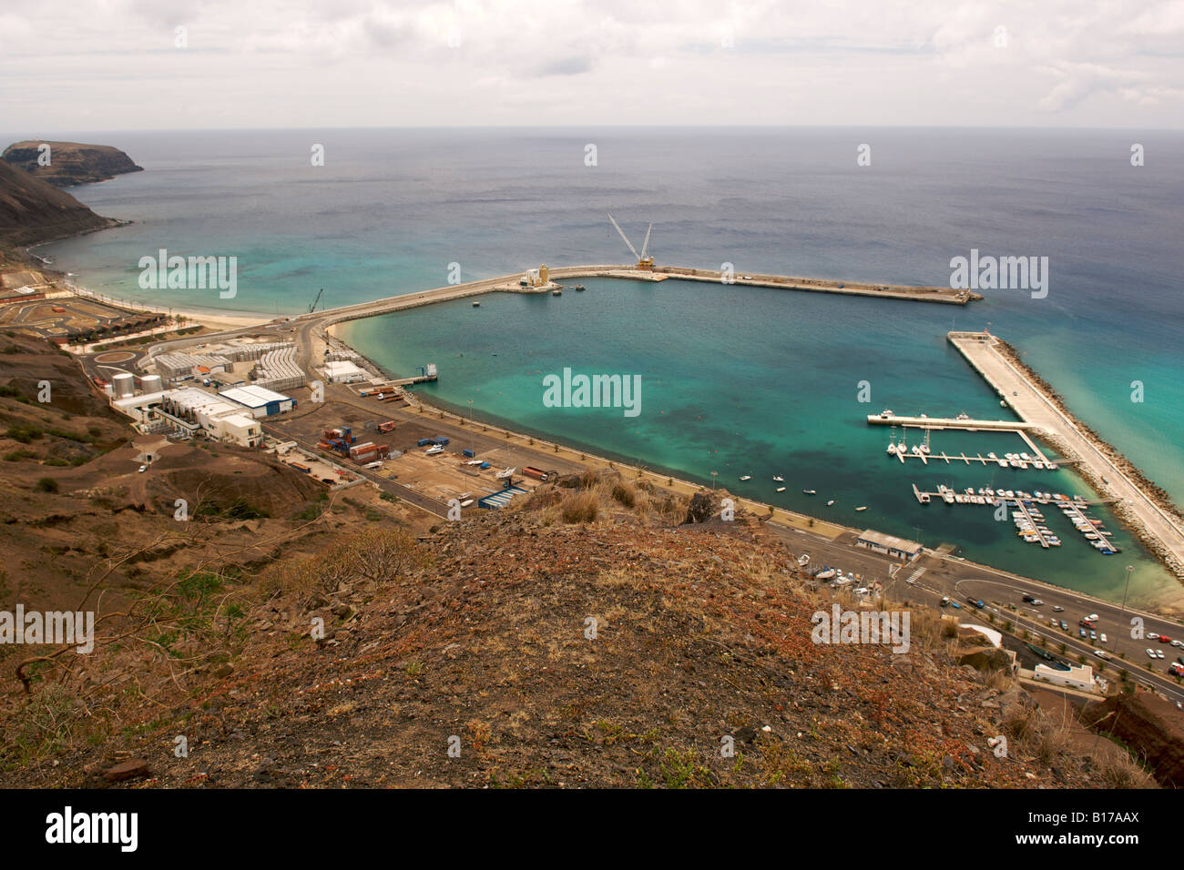 The port of the Portuguese Atlantic island of Porto Santo. - Stock Image