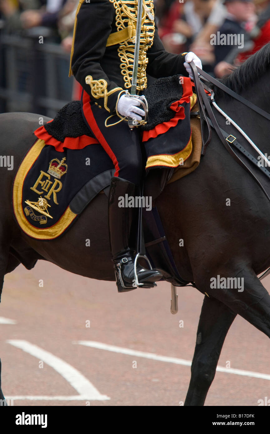 A mounted soldier in the Artillary Regiment in parade uniform - Stock Image