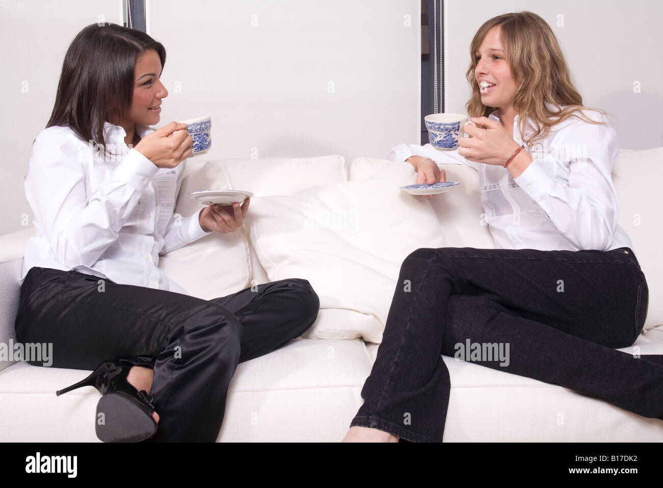 Tea time and chat between friends Stock Photo