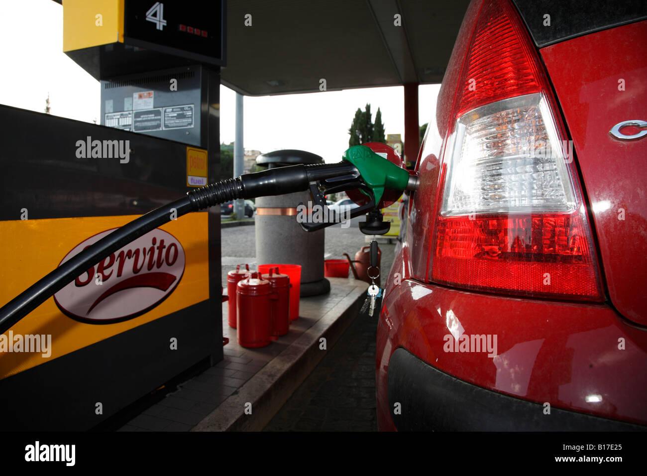 Self Service Petrol Pump Stock Photos Suzuki Swift Fuel Filling Car On Station Forecourt Image