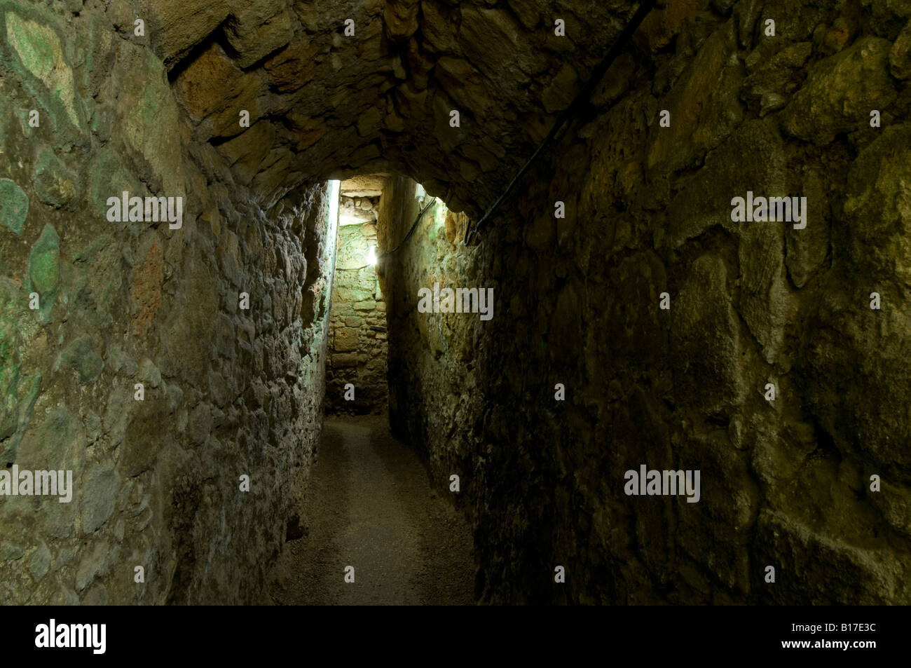 Supply and escape tunnel leading from the Crusader citadel to the port - Crusader citadel, Old Acre (Akko), Israel. - Stock Image
