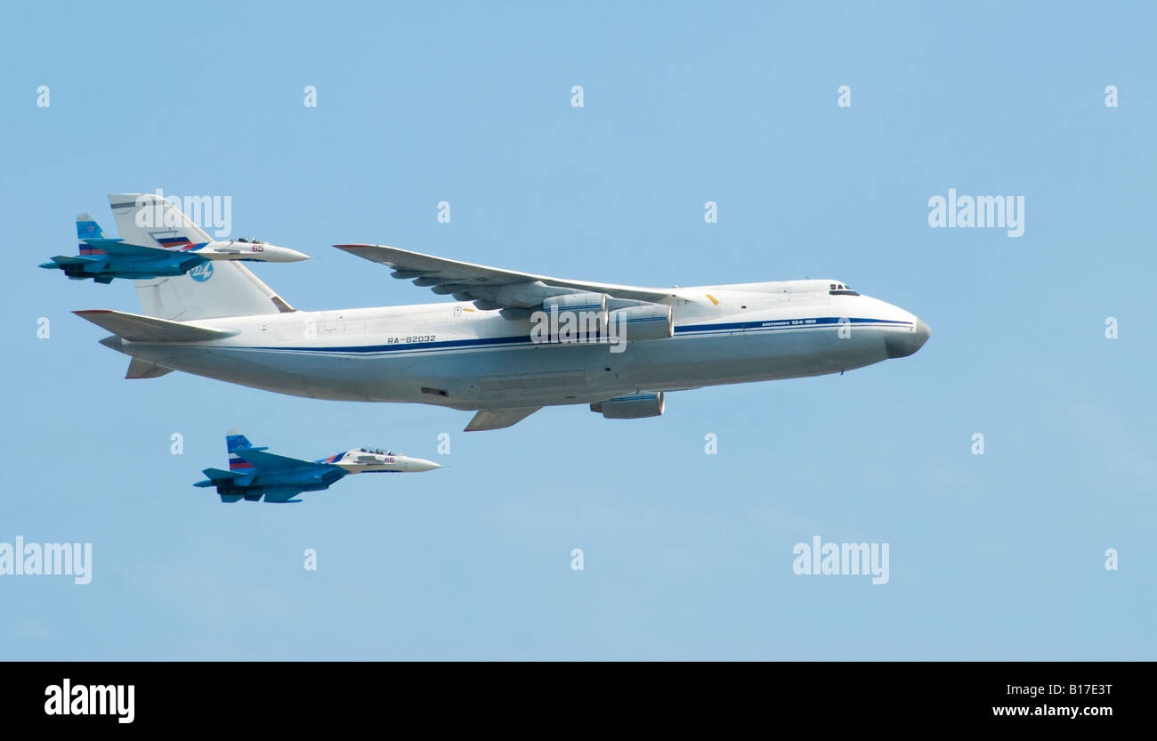 Antonov An-124 military cargo plane in 'fly-past' during Russian Victory Day parade in Moscow, 9 May 2008. - Stock Image