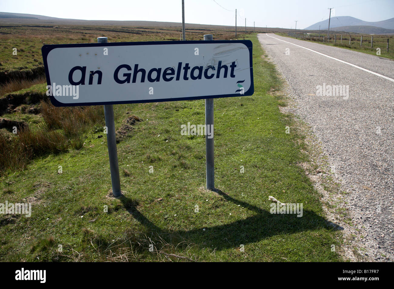 an ghaeltacht sign at side of road in north county mayo republic of ireland it signifies entrance irish gaelic speaking - Stock Image