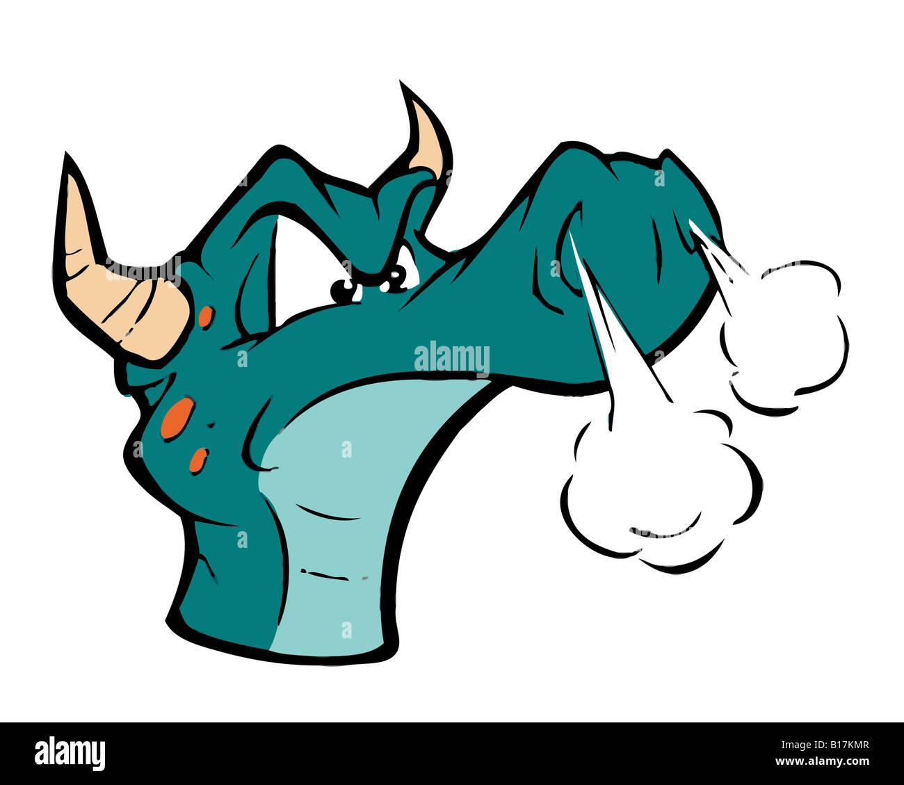 cartoon illustration of a dragon - Stock Image