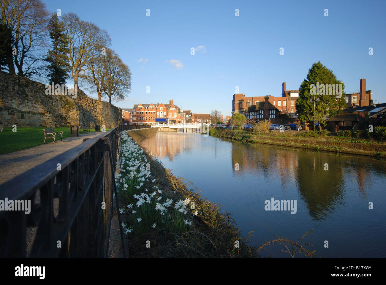 England, Kent,UK, view of Tonbridge Town with River Medway in foreground - Stock Image