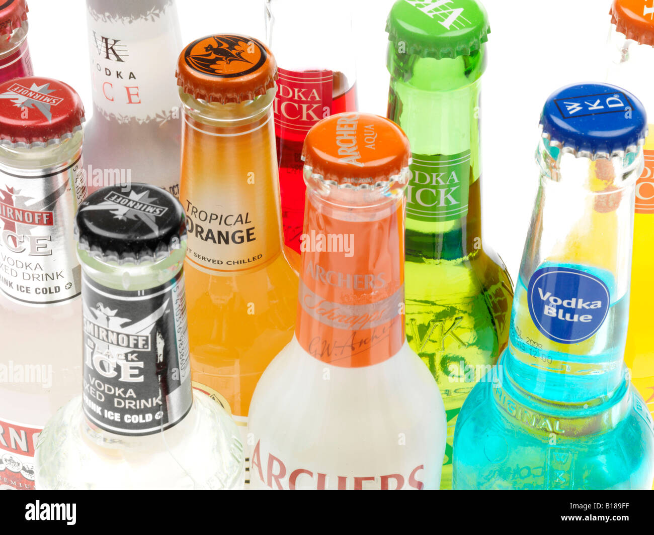 Assorted Colourful Bottles Of Alcohol Alchopops Party Drinks Isolated Against A White Background With A Clipping Stock Photo