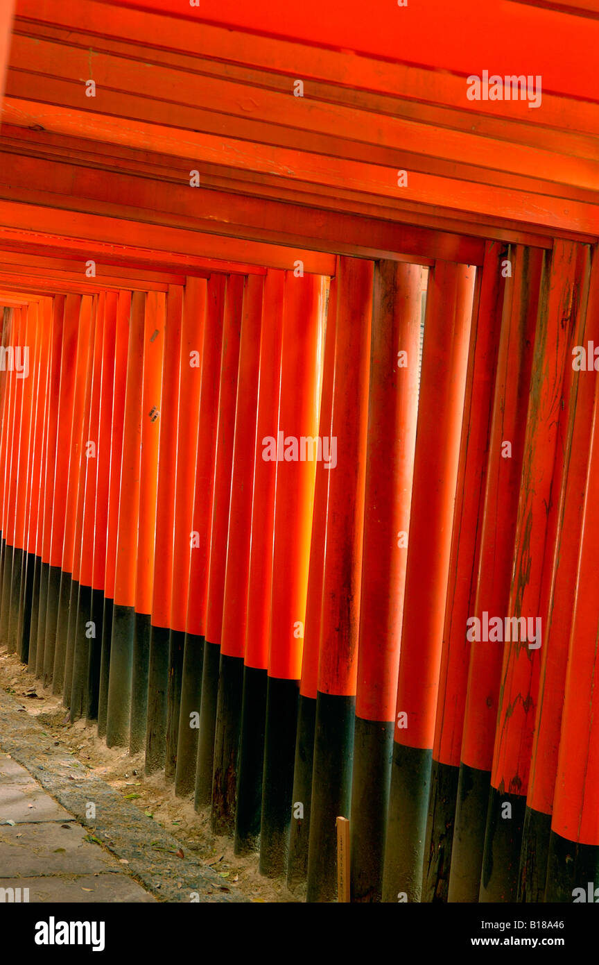 Torii gates Fushimi Inari Taisha Shrine Kyoto Honshu Japan - Stock Image