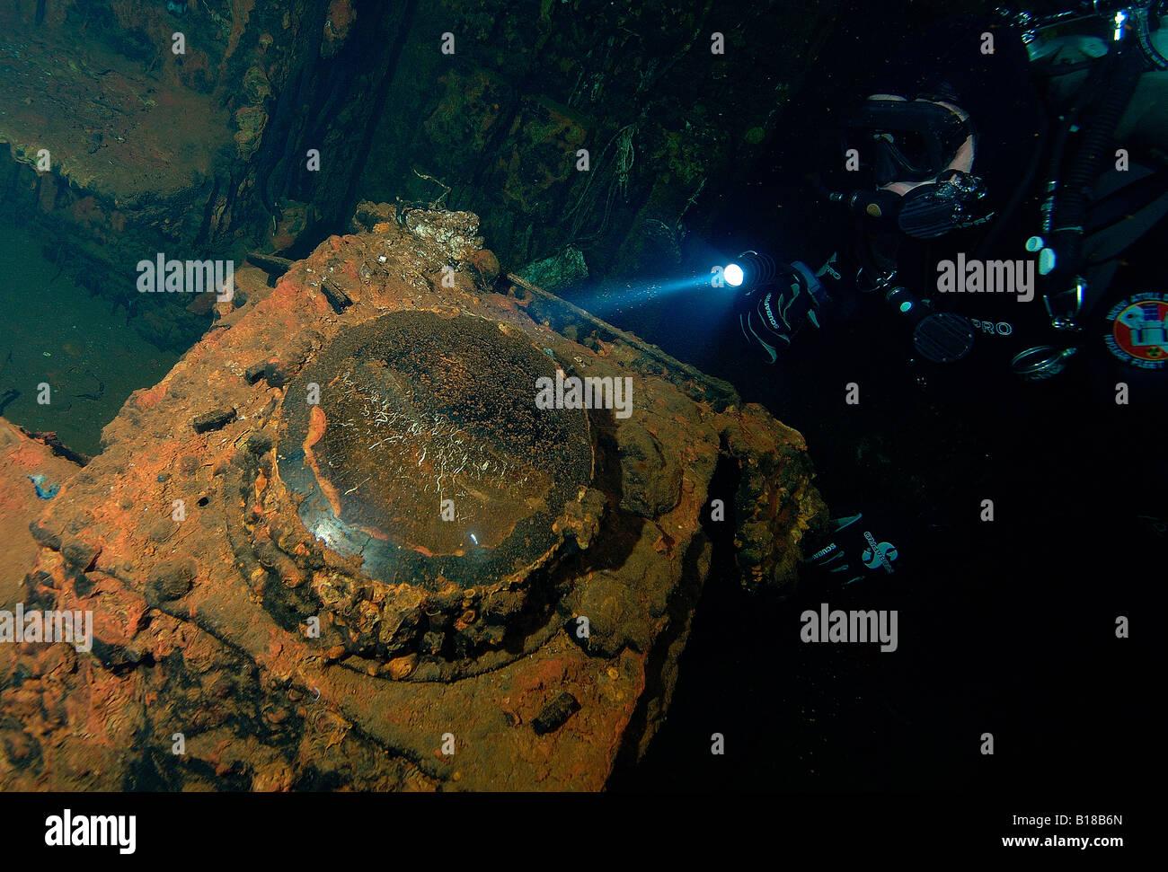 Radar at Wreck USS Saratoga Bikini Atoll Marshall Islands - Stock Image