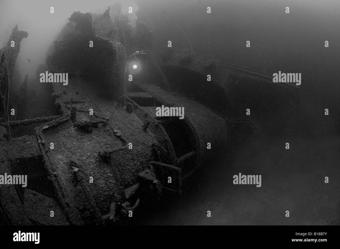 Diver at Wreck Nagato Bikini Atoll Marshall Islands - Stock Image