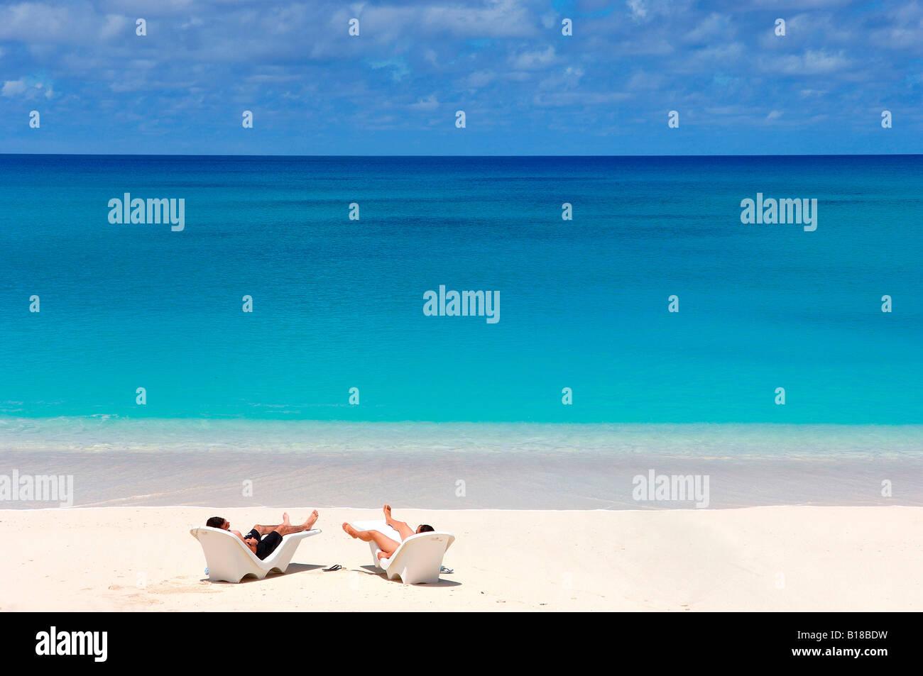 Tourists at Beach Bikini Atoll Marshall Islands - Stock Image