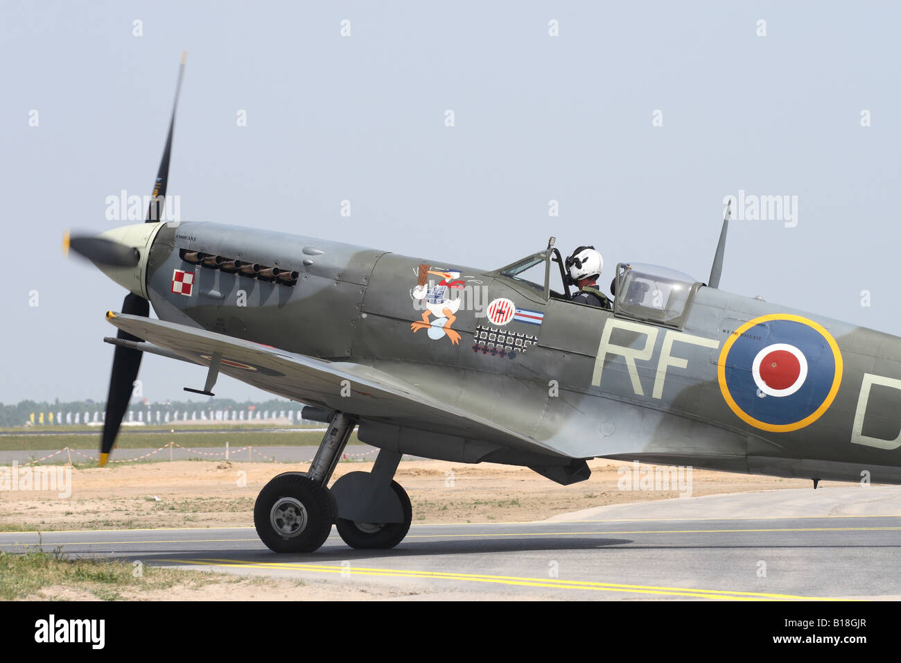 Royal Air Force RAF Supermarine Spitfire Mk V serial AB910 wearing the colour scheme of 303 Polish Sqn - Stock Image