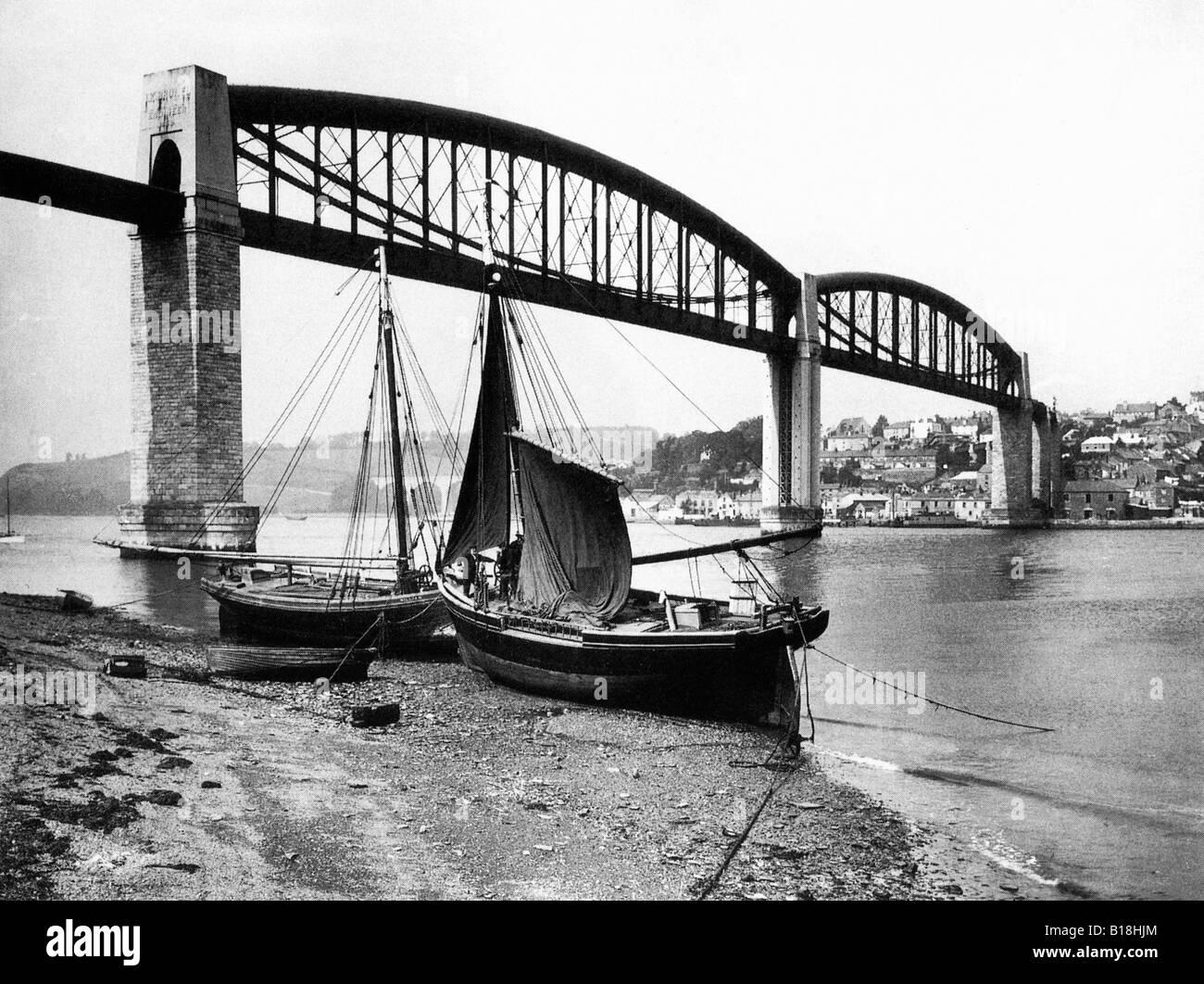 Saltash Bridge 1924 photo of the Royal Albert Bridge Isambard Kingdom Brunel masterpiece from the Devon shore - Stock Image