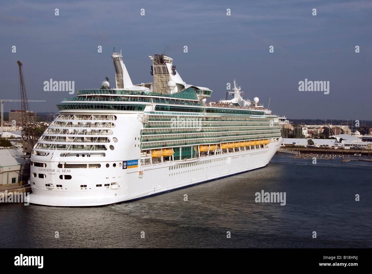 Royal Caribbean Cruise Liner Navigator of the Seas berthed at Southampton - Stock Image