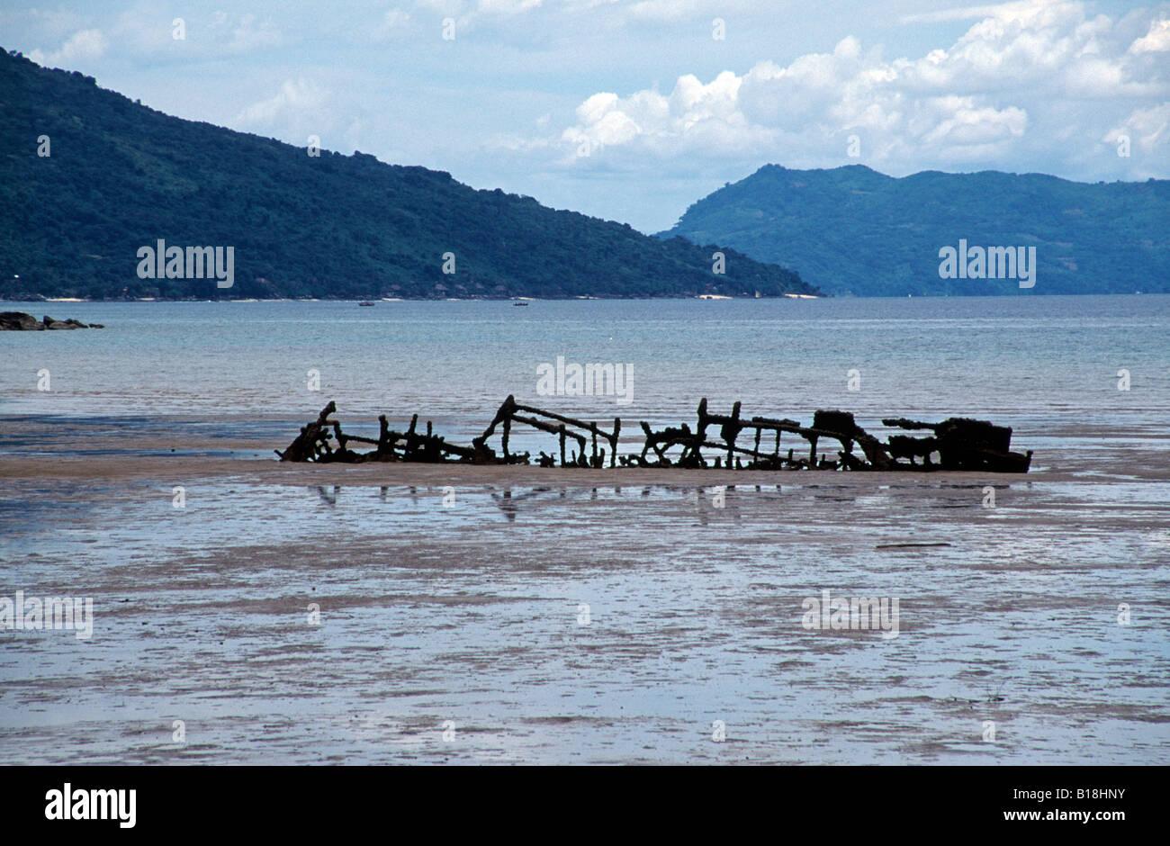 Maradoka shipwreck near Hell Ville, Nosy Be Madagascar - Stock Image