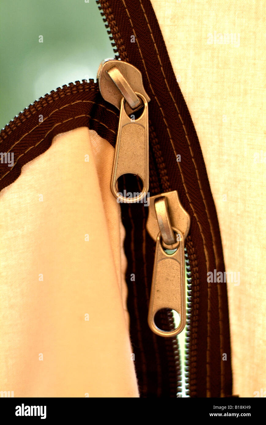 tent zip fasteners - Stock Image