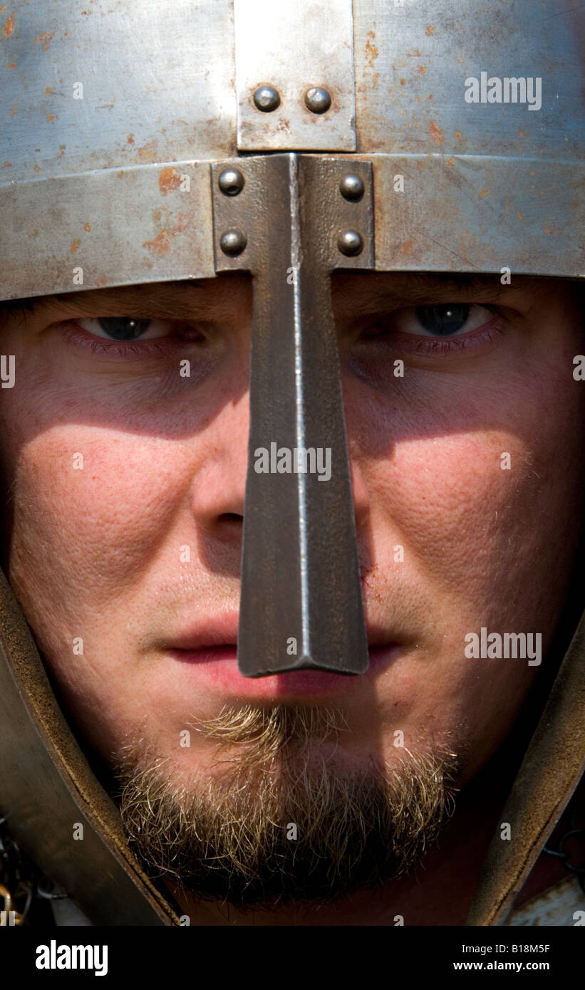 Viking from a re enactment group on Lindisfarne which the real vikings famously invaded in AD794 - Stock Image
