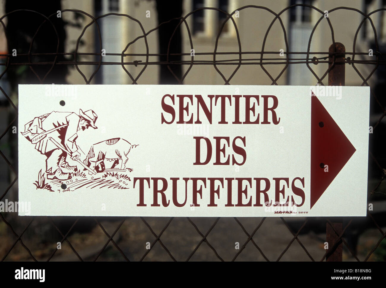 French language sign, French language, French sign, Sentier des Truffieres, village of Sorges, Dordogne, Aquitaine, France, Europe Stock Photo