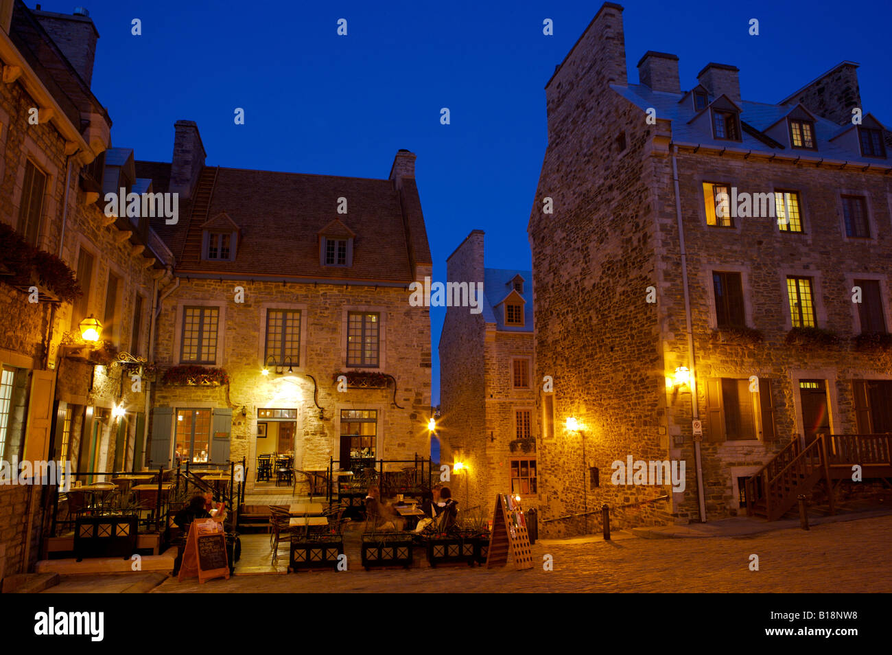 Buildings in Place-Royale during blue hour in Old Quebec, Quebec City, Quebec, Canada. UNESCO World Heritage Site. - Stock Image