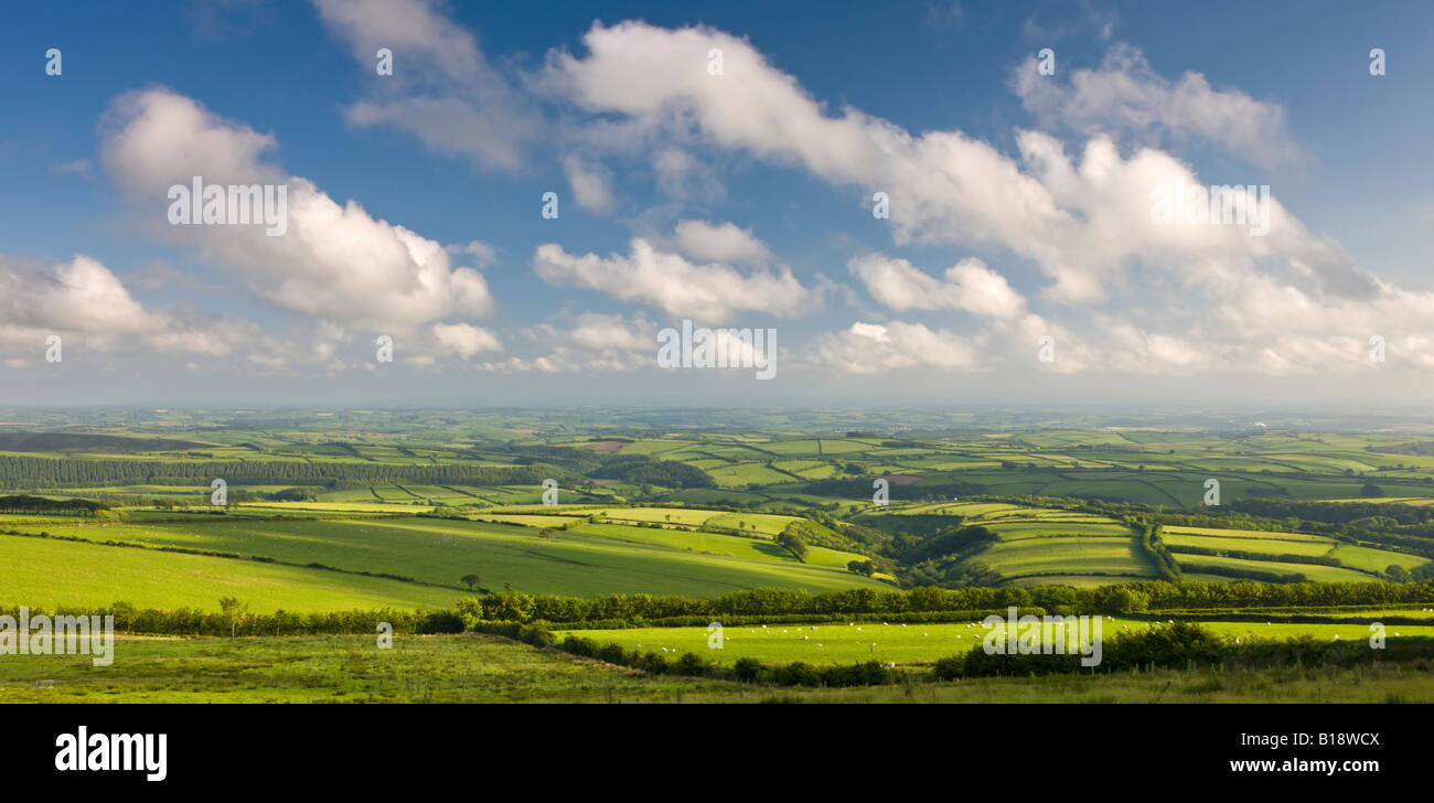 Spectacular rolling countryside of Exmoor National Park and rural Devon England - Stock Image