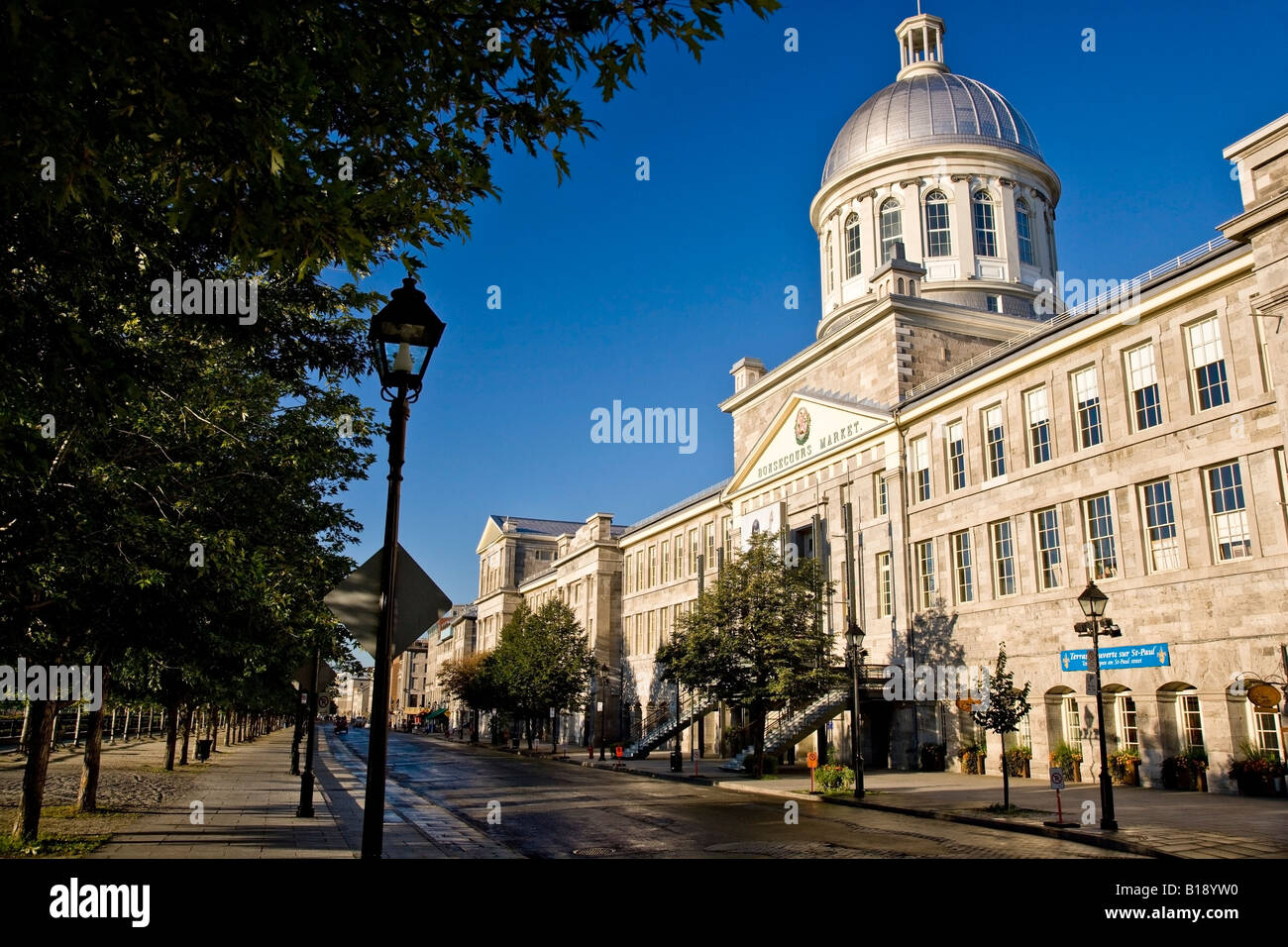 Marche Bonsecours market and rue de la Commune in Old Montreal, Quebec, Canada. - Stock Image
