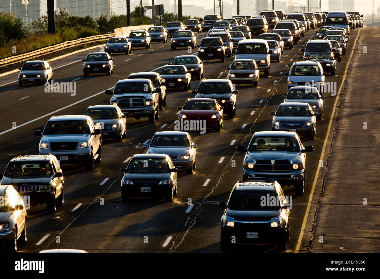 Rush-hour traffic on QEW (Queen Elizabeth Way) heading into Toronto