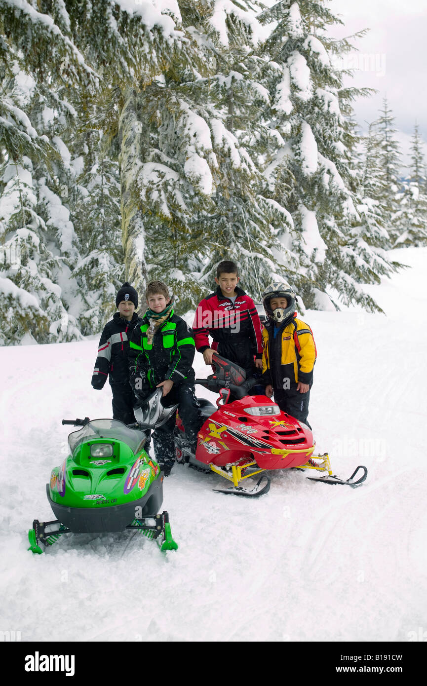 Snowarama snowmobile meet.  Campbell River, Vancouver Island, British COlumbia, Canada - Stock Image