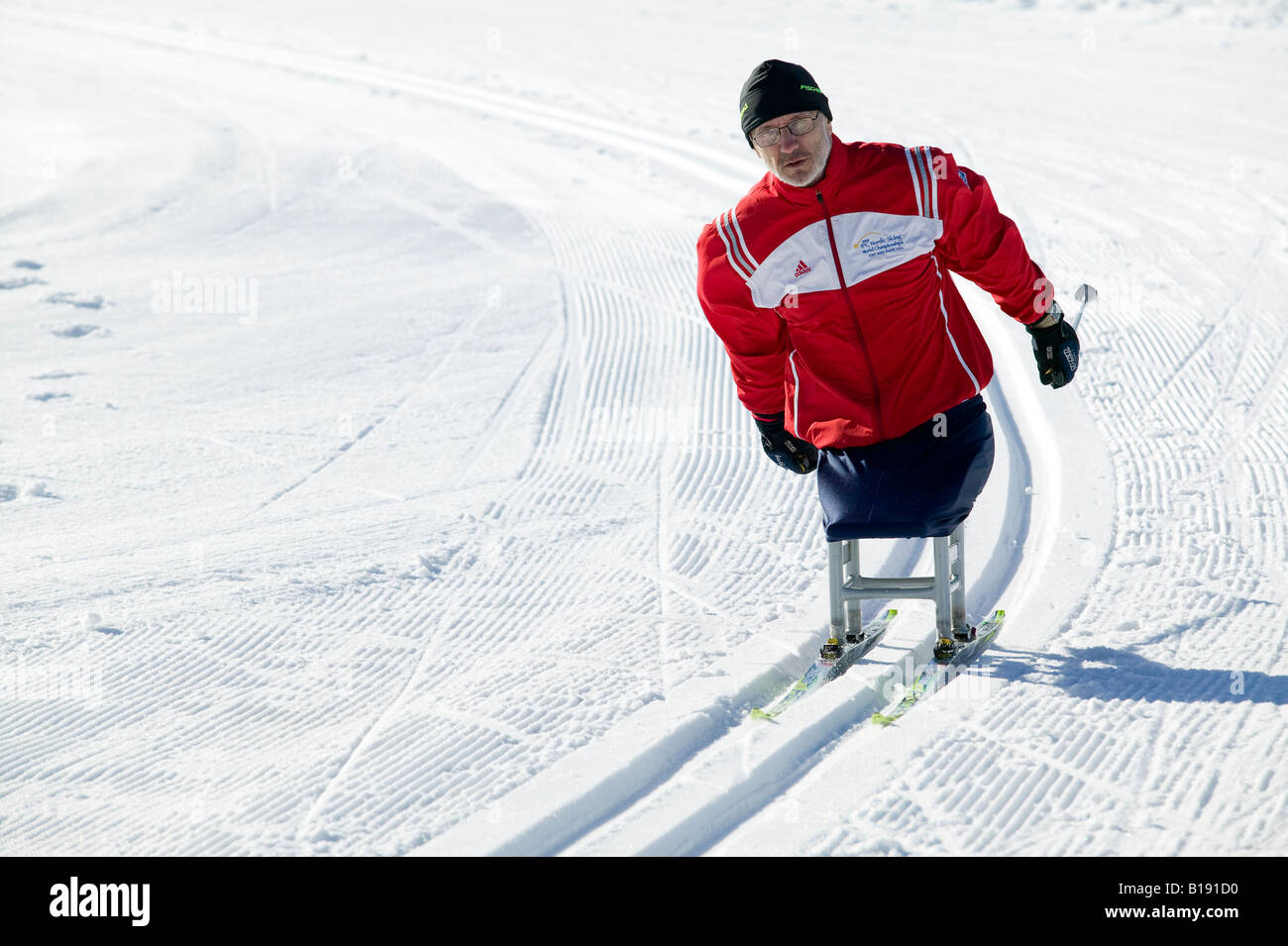 IPC Paralympic athlete warming up for upcoming cross country ski race.  Mt Washington, Vancouver Island, british - Stock Image