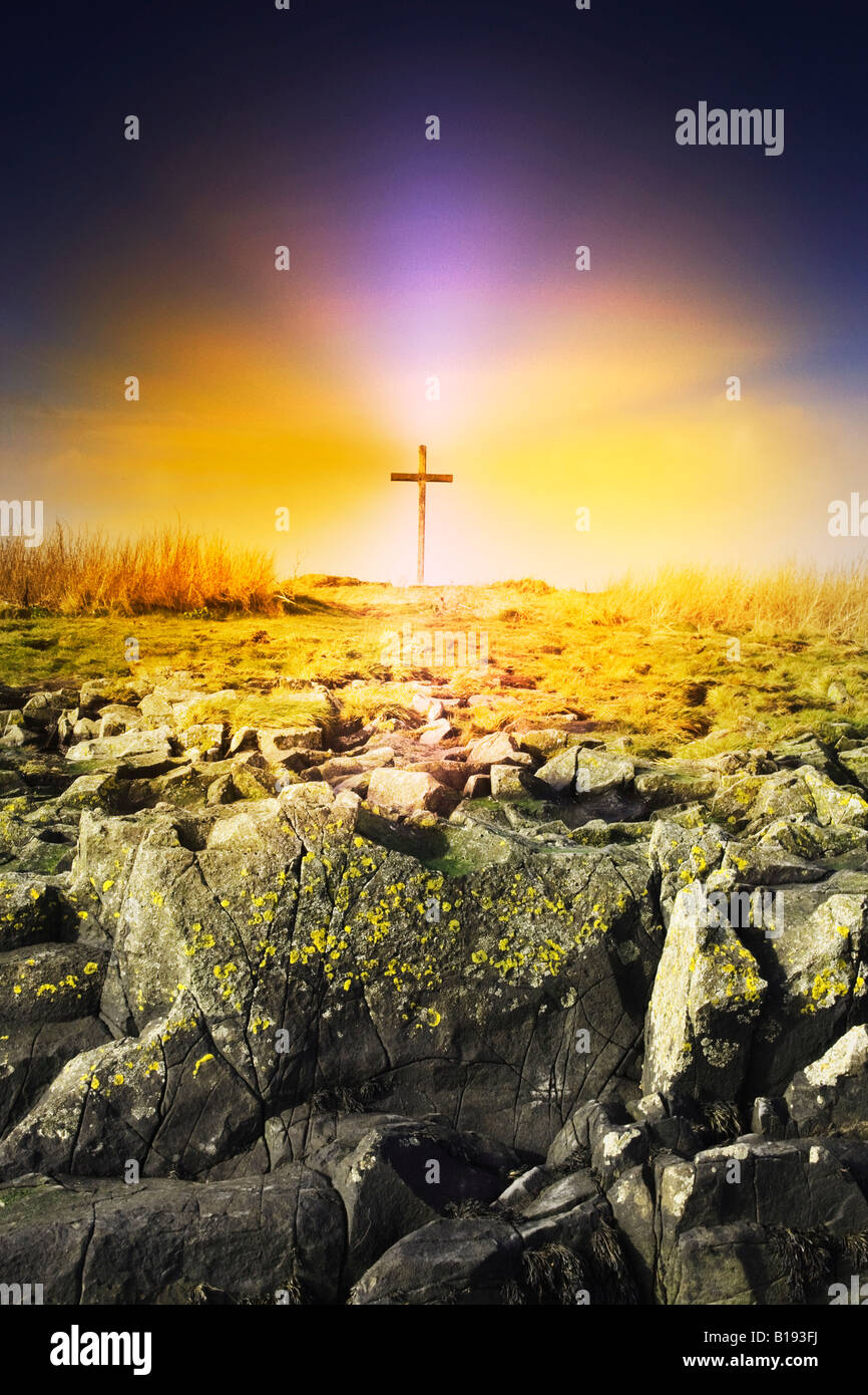 The death spot of St. Cuthbert on Holy Island, England - Stock Image