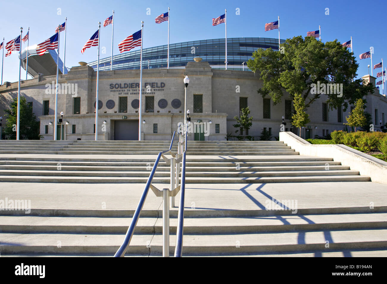 BUILDINGS Chicago Illinois Soldier Field redesigned football field home to Chicago Bears stairs with handrail leading - Stock Image