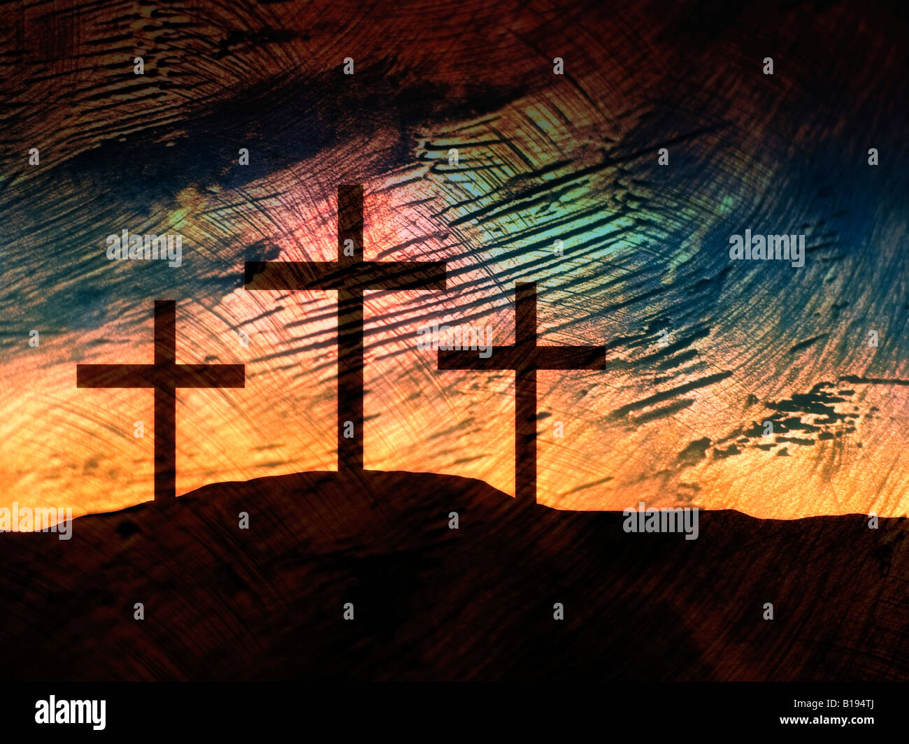 Three crosses on a hill - Stock Image
