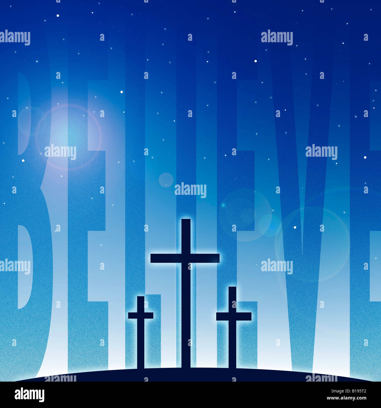 Three crosses and believe - Stock Image