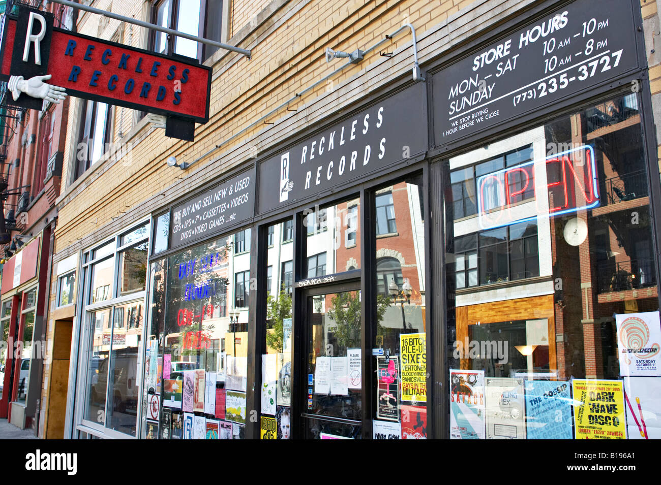 Illinois Chicago Reckless Records Store Windows And Sign