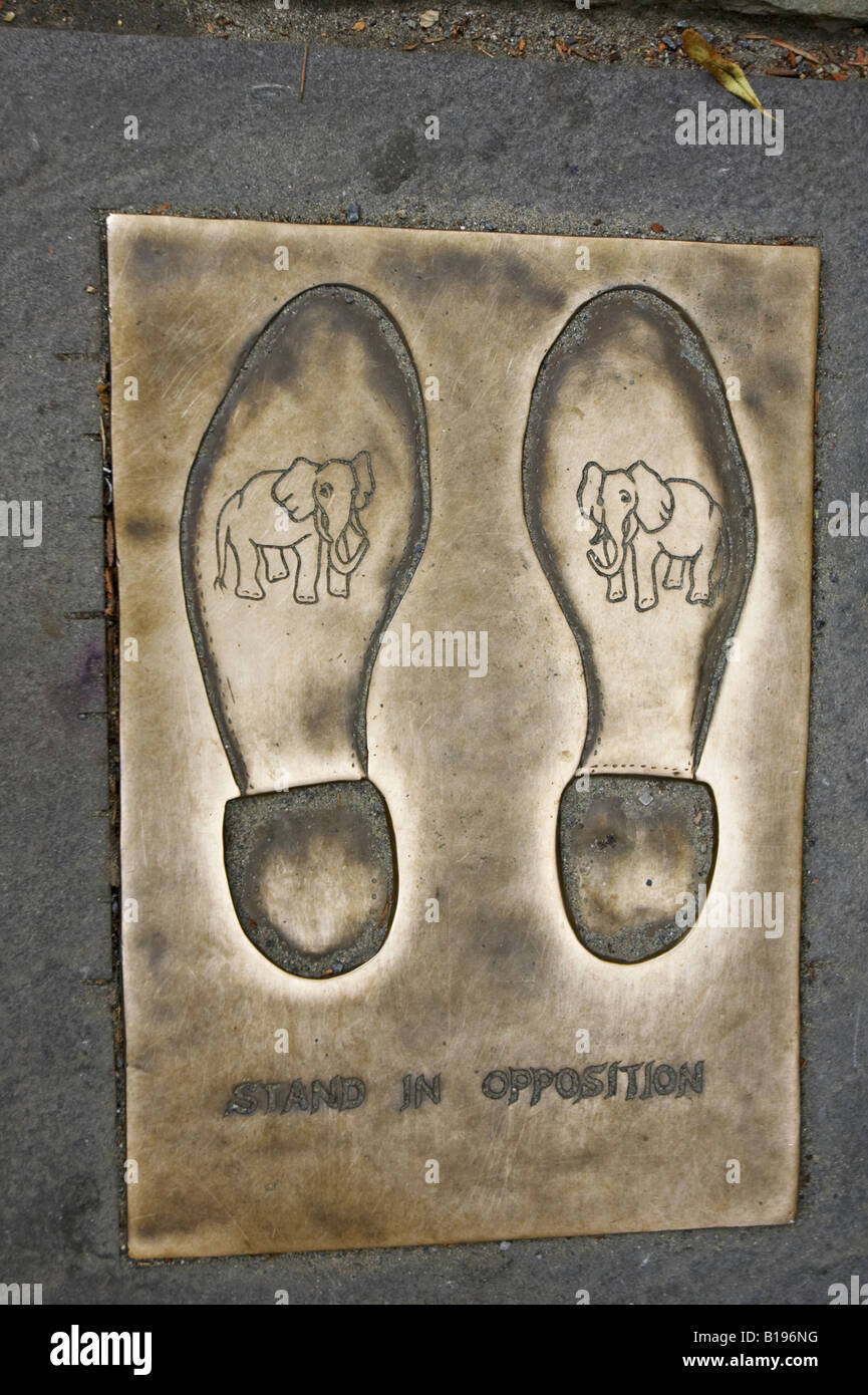 MASSACHUSETTS Boston Old City Hall site along Freedom Trail stand in opposition plaque with footprints - Stock Image