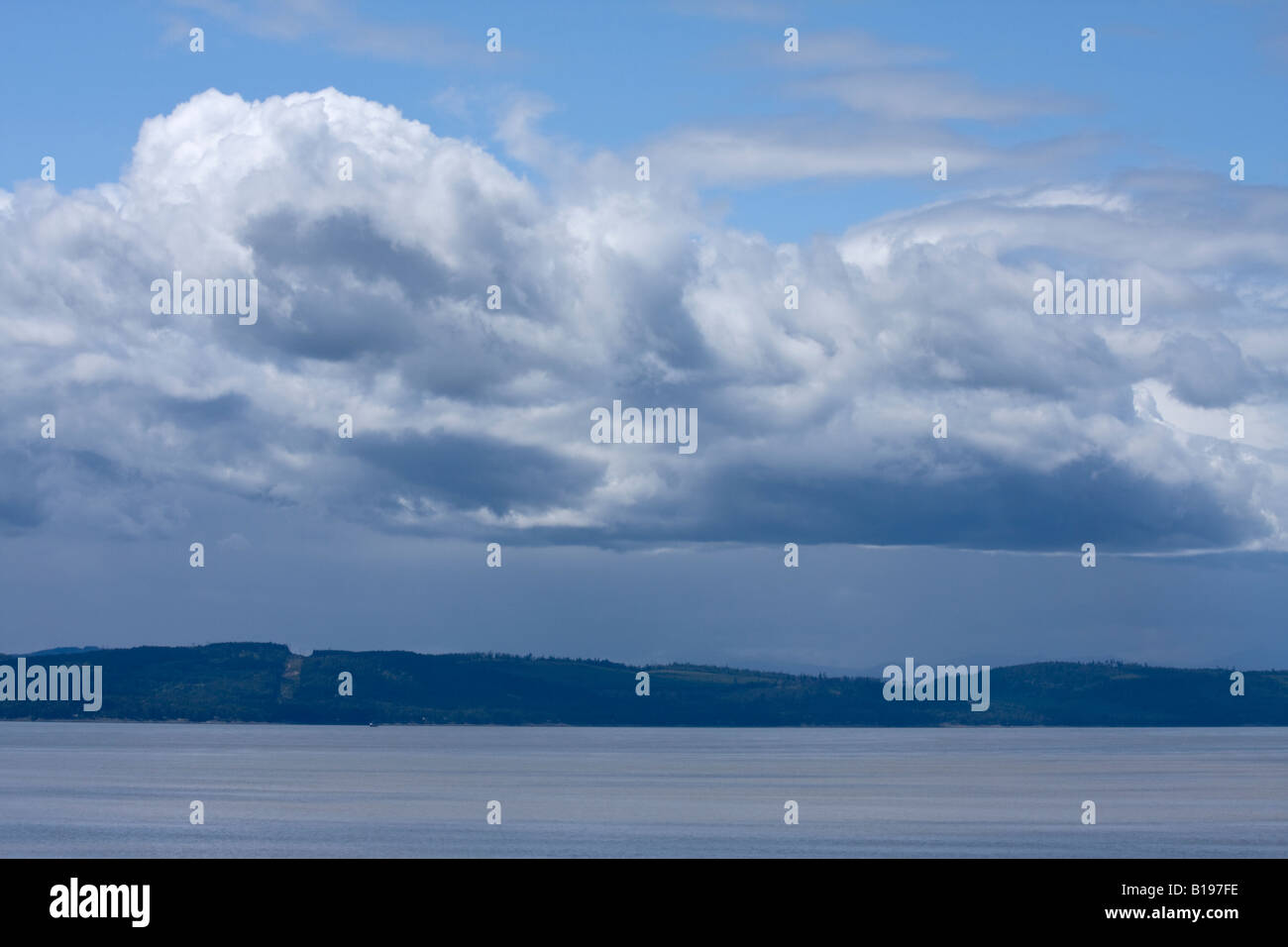 Rainstorm over Strait of Georgia near Vancouver Island - Stock Image