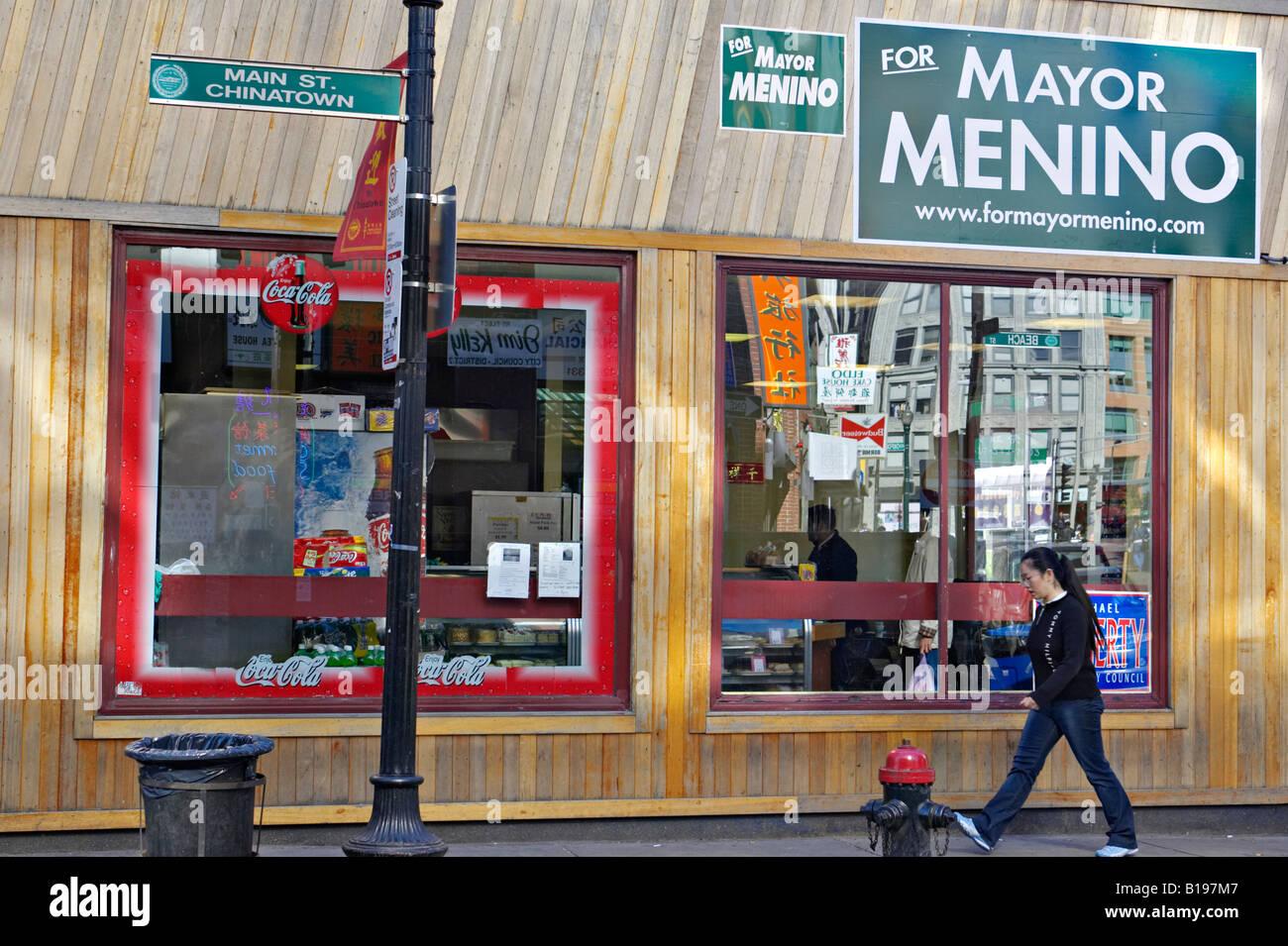 Massachusetts Boston Woman On Sidewalk Walk Past Restaurants And