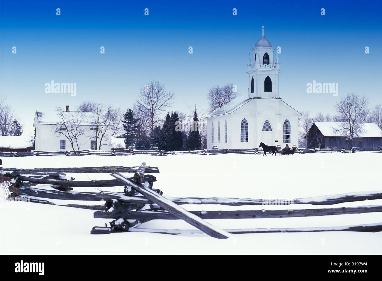 Horse Drawn Sleigh, Upper Canada Village, Parks of the St. Lawrence, Morrisburg, Ontario, Canada Stock Photo