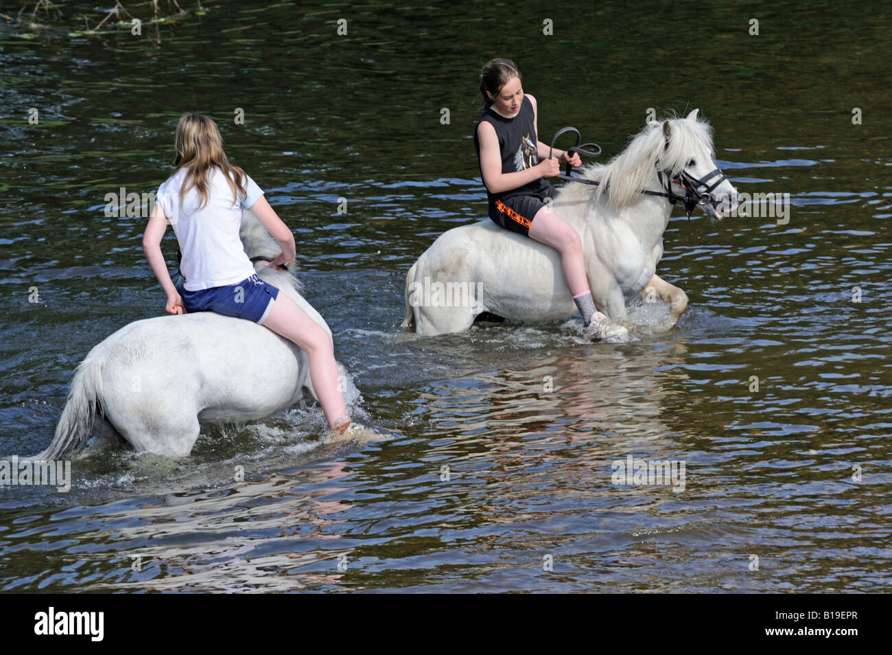 Two gypsy traveller girls riding ponies bareback in River Eden. Appleby Horse Fair. Appleby-in-Westmorland, Cumbria, - Stock Image