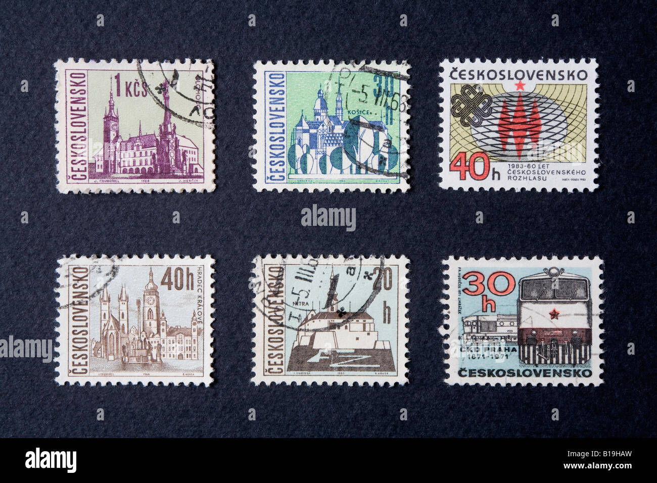 Czechoslovakian postage stamps from the 1960s and 1970s - Stock Image