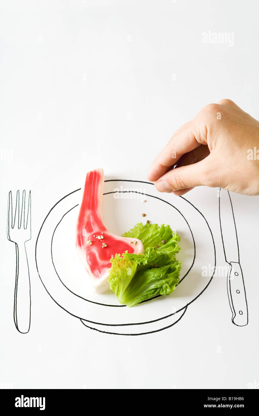 Hand seasoning food on drawing of plate - Stock Image