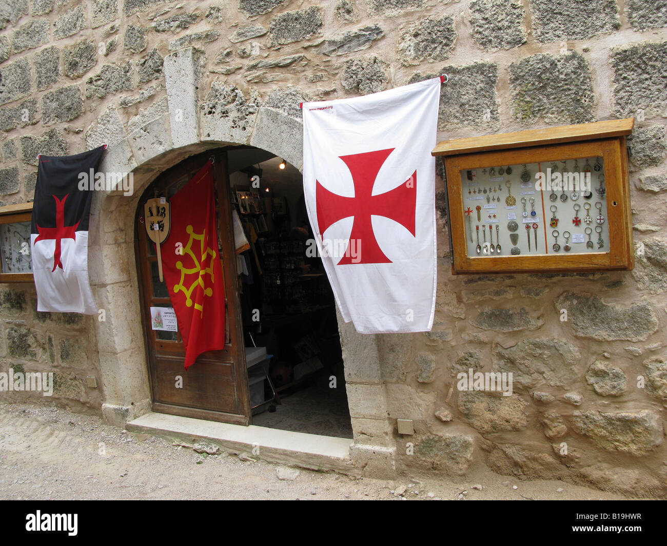 La Couvertoirade a Medieval fortified town which was built by the Knights Templar during the 12th and 13th centuries - Stock Image