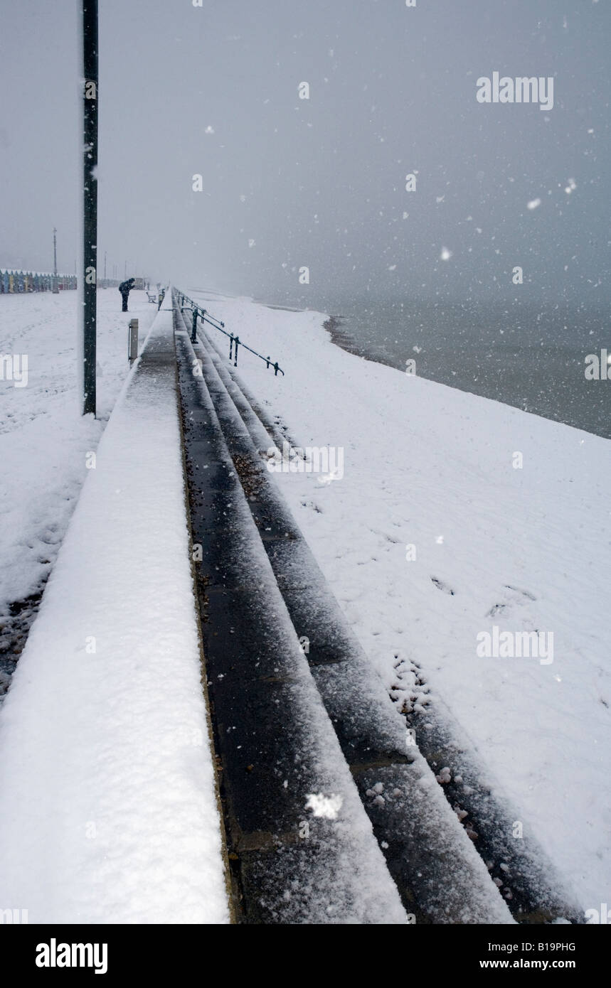 Snow covered beach Hove East Sussex - Stock Image
