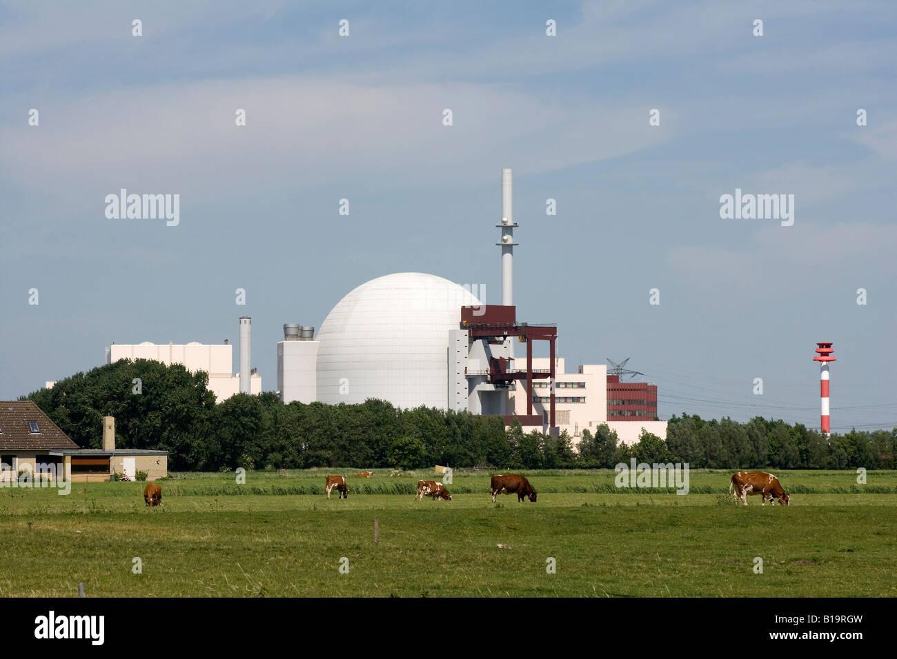 The atomic power plant in Brokdorf - Stock Image